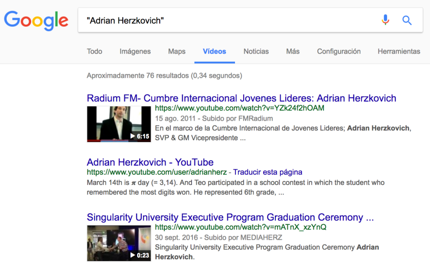 Adrian Herzkovich - Google - Videos