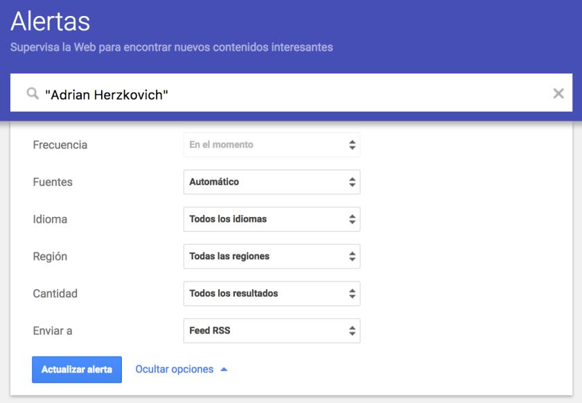 Configuración de Google Alerts de Adrian Herzkovich - Campos