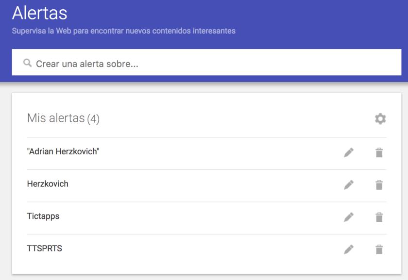 Configuración de Google Alerts de Adrian Herzkovich